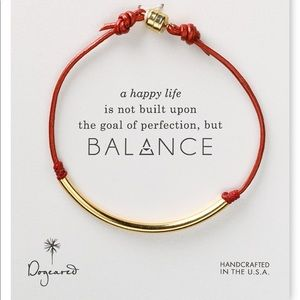 BALANCE TUBE LEATHER RED BRACELET, GOLD DIPPED
